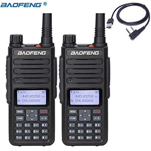 2 Pack BaoFeng DM-1801 DMR and Analog VHF/UHF Dual Band Dual Time Slot DMR Ham Amateur Two Way Radio 1024 Channels Tier I & II Compatible with MOTOTRBO, Free Programming Cable