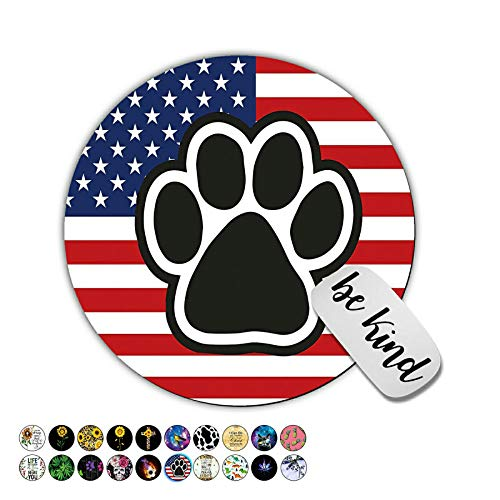 Dikoer America Flag Dog Paw Round Mouse Pad for Laptops Office Computer Decor,Cute Gaming Mousepad with Design,Non Slip Rubber Mouse Mat and Lovely Sticker