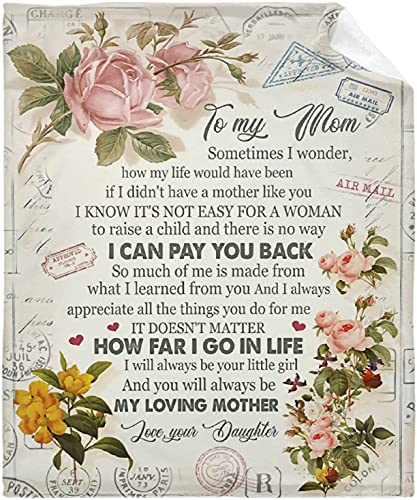 Manta con diseño de flores a mi mamá de hija, manta ligera de microfelpa suave regalo mantas de franela para sofá cama 127 x 101 cm Póster para niño pequeño