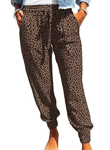GOSOPIN Dame Freizeithose lang Sporthose Yogahosen elastisch Pluderhose Pumphose Haremshose Hippie Hose Baggy Hosen Strandhose Sommer Leopard Brown XL