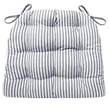 Barnett Home Decor Ticking Stripe Blue Dining Chair Pad with Ties - Size Standard - Latex Foam Fill Cushion - Machine Washable, Reversible, Solid Color, 100% Cotton, Made in USA (Navy)