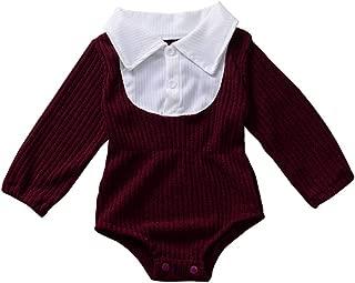 WEXCV Baby Strampler Jeanshemd Herbst Winter M/ädchen Jungen Overall Romper Langarm Einfarbig Niedlich Spielanzug 0-24 Monate