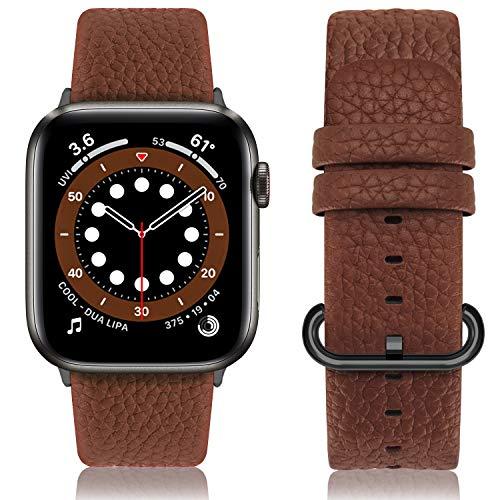 Fullmosa Cinturino per Apple Watch 42 mm/44 mm, Cinturino Pelle Compatibile con Apple Watch Serie SE 6 5 4 3 2 1, Sport, Nike+, Hermès, Edition, Marrone + Fibbia Grigia Fumé