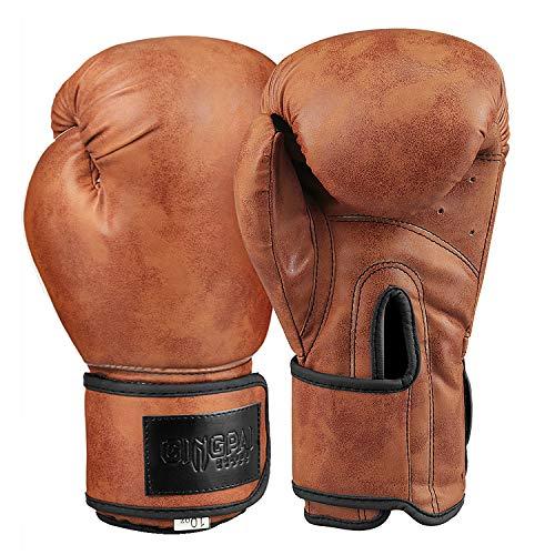 GINGPAI Guantes de boxeo, kickboxing, sparring, saco pesado guantes para entrenamiento, Marrón claro, 10 onzas (295.73ml)