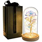 Galaxy Rose Gift 24K Gold Artificial Flower in Glass Dome Led Light...
