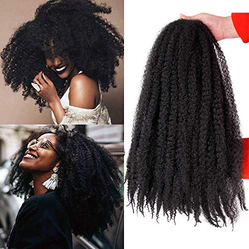 ALENTOO 3 Packs Marley Hair Crochet Afro Kinky Twist Crochet Hair Marley Twist Crochet Braids Marley Hair for Twists 18inch Synthetic Kinky Hair Extension(1B)
