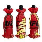 Funda clásica de la UFC con logotipo de la noche de la pelea de la noche de vino de Navidad, 3 piezas de decoración de botellas de vino