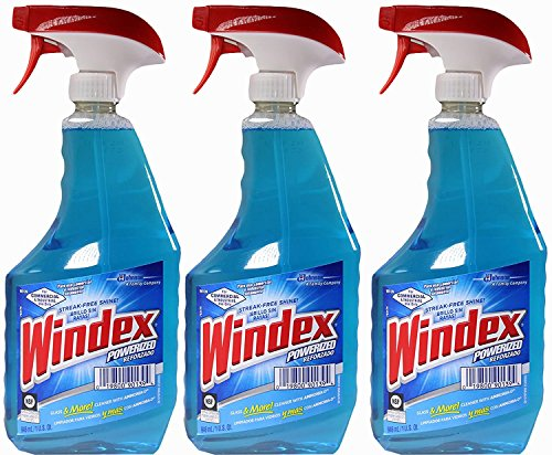 Windex Powerized Glass Cleaner with Ammonia-d, 32 Oz. Trigger Spray Bottle (Pack of 3)