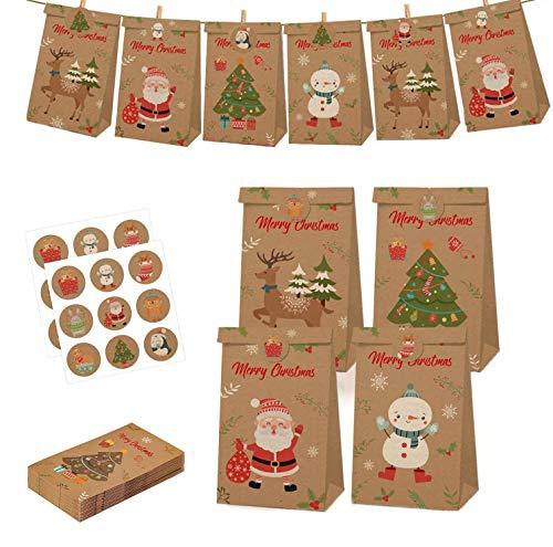 QYY Sacchettini di Carta, 12 Borse Carta Kraft Sacchetti Regalo di Carta con 18 Adesivi Utilizzato in Feste, Feste, Matrimoni,Mercati, Negozi, Regalo di Natale