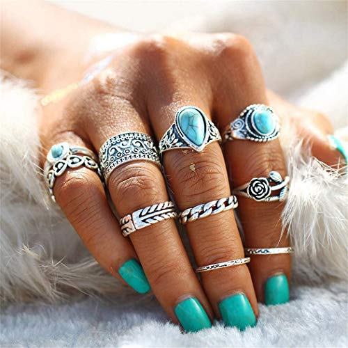Arimy Boho Knuckle Ring Set Silver Turquoise Heart Stackable Finger Rings Hollow Carved Multi Size Rings Accessories for Women and Girls(10pcs)