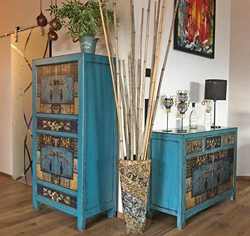 Cómoda, Aparador y Armario en Estilo Vintage para Dormitorio, Salon, Atractivo Color Azul con Motivos asiáticos
