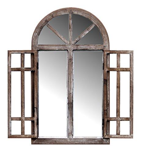 more-decor-de Spiegelfenster Rundbogenfenster Spiegel mit Fensterläden - aus Holz - im Landhaus Stil - Braun - 40cm x 70cm