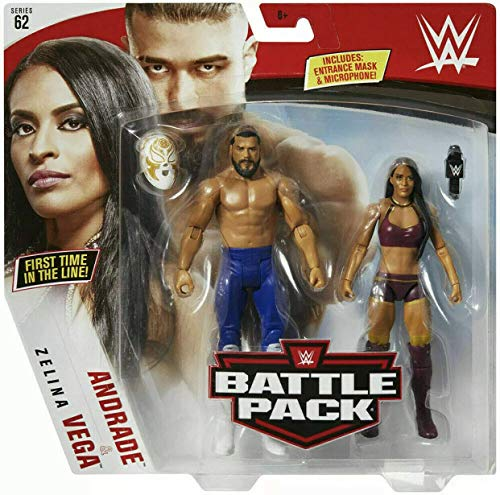 Andrade mit Maske und Zelina Vega WWE Kampf Packung Basic Figur Wrestling Mattel Serie 62