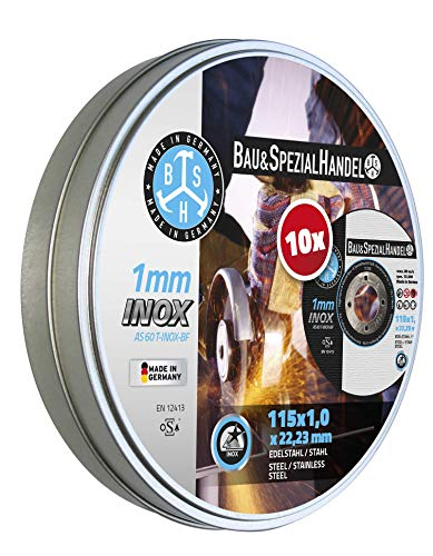 BSH® Trennscheiben INOX - Metall, Made in Germany, 115 + 125 mm, 1,0 mm Stärke, 30% längere Standzeit, 10er Pack in wiederverschließbarer Dose (115 x 1,0 mm)