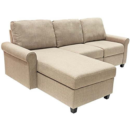 Serta Copenhagen Reclining Sectional with Left Storage Chaise - Oatmeal