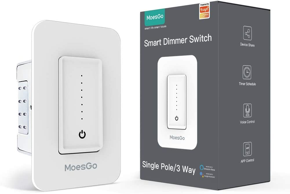 Buy Moesgo Wifi 3 Way Smart Dimmer Light Switch Replaces One Switch To Multi Control With No Hub Required Needs Neutral Wire Compatible With Smart Life Tuya App And Alexa And Google Home Online