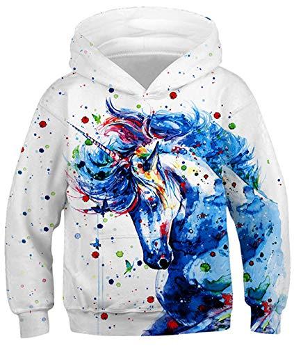 SunFocus Sudadera con Capucha Unisex Casual 3D Animal Unicorn Print Niños Niñas Swetshirts Jersey Deportivo...