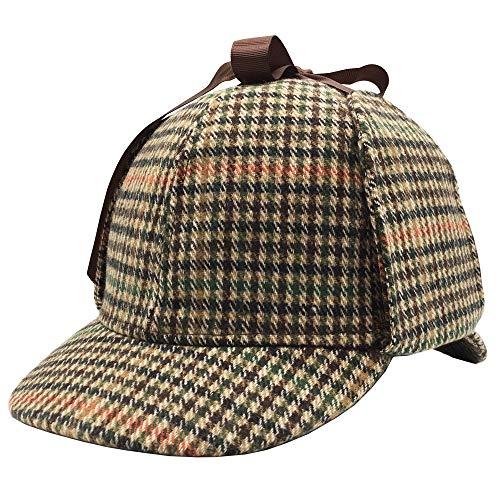 Sherlock Holmes Hat,Deerstalker Hat Classic Cos Play for Adults and Children (Medium, Lattice)