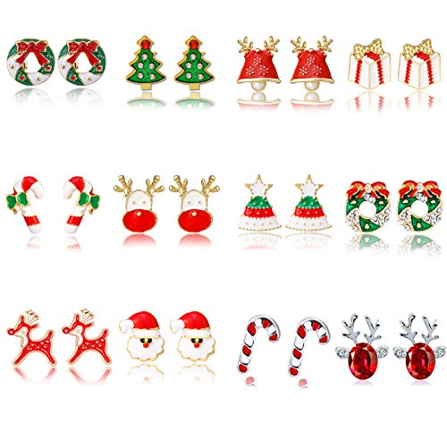 12 Pairs Women Christmas Earring Stud Set Tree Jingle Bell Wreath Stud Earrings for Teen Girls Holiday Earrings Christmas Xmas Party Gifts