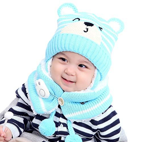 Teyiwei - Gorro de punto para bebé o niña, diseño de orejas animadas, gorro con bufanda para niñas, niños y niñas, color azul