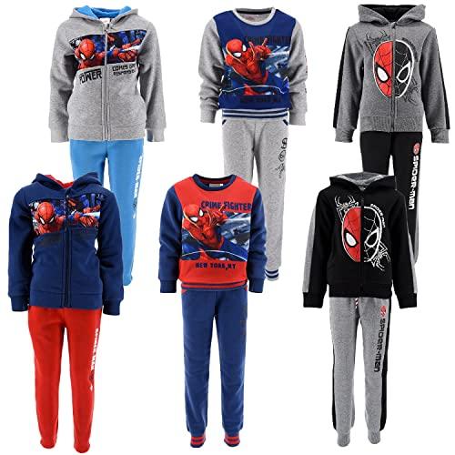SUN CITY Marvel Avengers Spiderman - Bambino - Tuta Sportiva da Ginnastica Jogging Felpata - Autunno Inverno [6820 Grigio - 3 Anni]