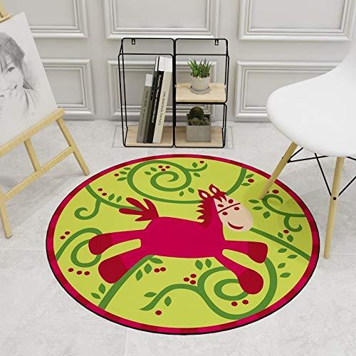 Lily&her Friends Tapis de sol rond en velours avec imprimé en cristaux de velours pour chambre à coucher, bureau, tapis de bébé, antidérapant et lavable, tapis décoratif, Red Horse, Diameter: 200cm