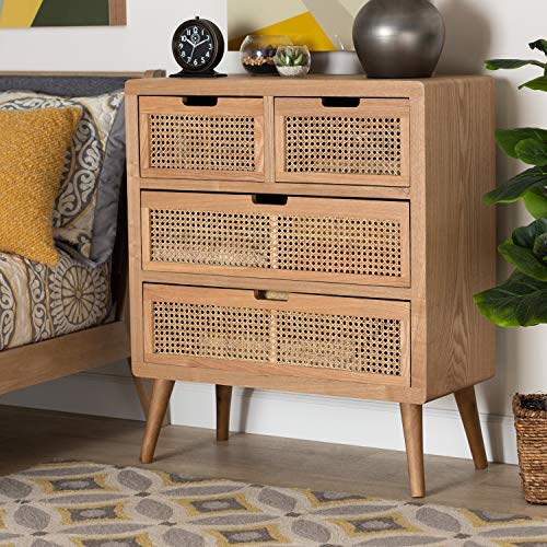 Baxton Studio Alina Mid-Century Modern Medium Oak Finished Wood and Rattan 4-Drawer Accent Chest