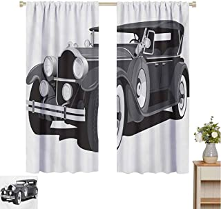 Mozenou Cars, Customized Curtains, Old Timer American Black Car Classical Urban Travel Nostalgic Revival Engine, Window Curtain Drape Black Grey White