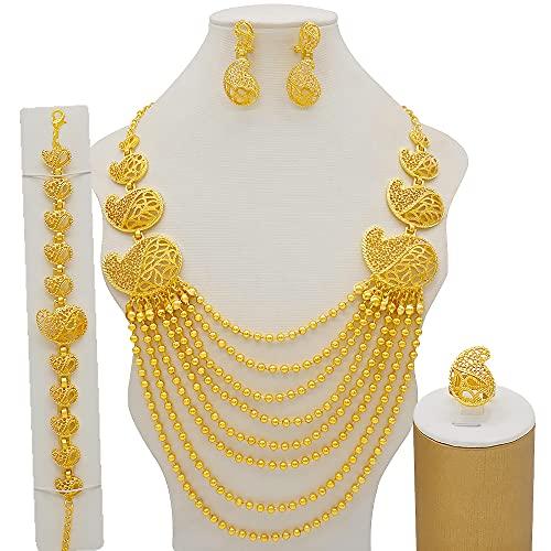 TCross Dubai Women Gold Color Jewelry Conjuntos, Regalos de Ornamento Nupcial de la Boda Africana para el Collar árabe Saudita Pendientes de Pulsera (Metal Color : BJW49)