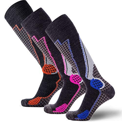 High Performance Wool Ski Socks – Outdoor Wool Skiing Socks, Snowboard Socks (Black-Grey/Blue/Neon-Pink/Orange - 3 Pack, Small)