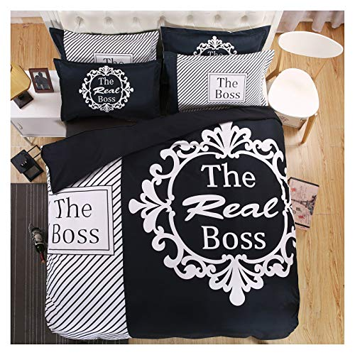 AMDXD Polyester 4 Piece Bedding Set, Black White The Boss with Flower Pattern (1Pcs Quilt Cover 220x240cm, 1Pcs Bed Sheet 240x260cm, 2Pcs Pillowcase 74x48cm)