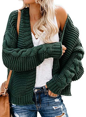 Damenmode Kabel Stricken Copped Strickjacke klobig Stricken locker sitzende Pullover Mantel solide Farbe Tops Grün XXL