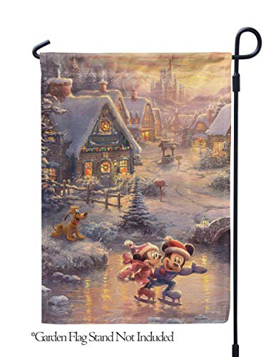 """Flagology.com, Disney, Thomas Kinkade, Mickey Mouse & Minnie Mouse, Mickey and Minnie Sweetheart Holiday – Garden Flag – 12.5"""" x 18"""", Outdoor, Printed on Both Sides, Officially Licensed Disney"""
