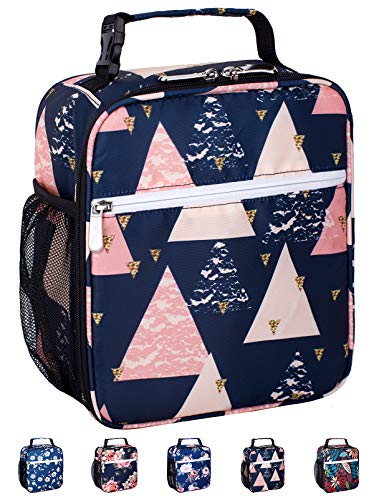 Leakproof Insulated Reusable Cooler Lunch Bag - Durable Compact Office Work School Lunch Box with Multi-Pockets & Detachable Buckle Handle for Women,Men and Kids-Pink Triangles