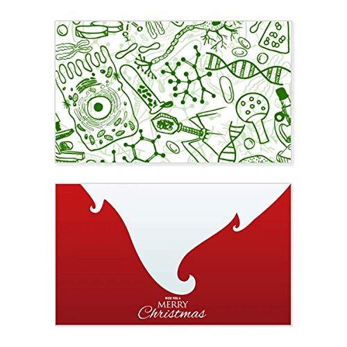 Tarjeta de felicitación de Navidad con diseño de microscopio verde con texto en inglés