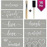 Stencils For Painting on Wood | Cursive Script Sayings, Word Paint Stencils: WELCOME LOVE GRATEFUL etc+ Mandala Hearts | 16 pcs Essential Inspirational Stenciling Kit | Rustic Farmhouse DIY Home Décor