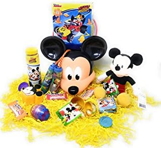 JGT Kids Boy Girl DIY Gift Set for Happy Easter Birthday Mickey Basket Plush Mickey Egg Stuffers Mickey Bubbles Mickey Puzzle Mickey Jump Rope Stickers Slime Chalk & Assorted Goodies Boys Girls