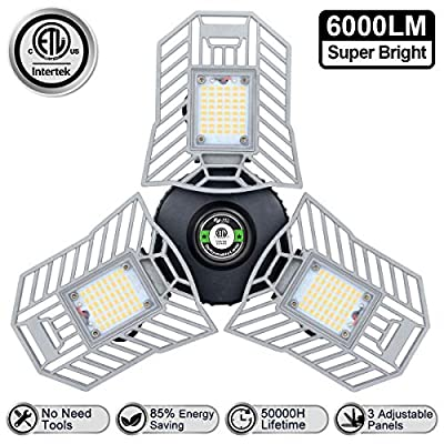 Three Leaf Garage Light 6000 Lm Deformable LED Garage Ceiling Lights 60W CRI 80 Led Workshop Lights for Garage Adjustable Panels Tribright Led Garage Lighting Basement Garage Lights(NO Sensor)