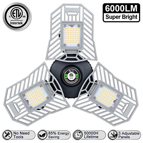 Led Garage Lighting Deformable LED Garage Ceiling Lights 7000 Lumens 60W CRI 80 Led Shop Lights for Garage No Motion Activated HUNHUN 2-Pack LED Garage Lights Adjustable Garage Lights