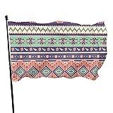 Ahdyr Aztec Rose Blooms Birds Flecha geométrica Bandera de jardín 3 x 5 pies Banner con Ojales de latón Fly House Interior Exterior Inicio Barco Yate Coche Decoraciones