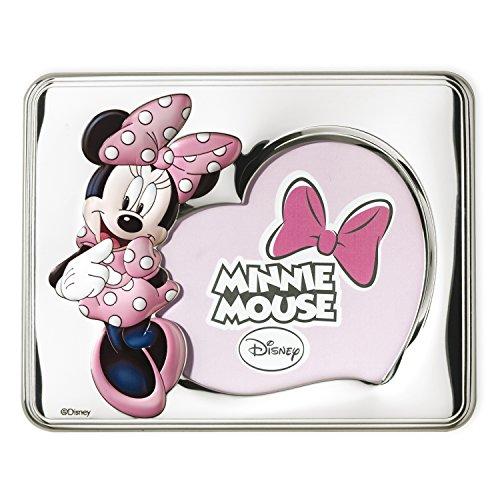 Disney Baby – Cadre photo en argent pour table ou table de chevet pour chambre d'enfant avec détails colorés et en forme de cœur