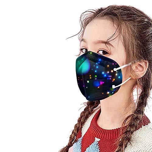 NIMIZIA 10/20/50 Stück Kinder_5 Lagige Schutz_Maske,Bunt 5 Lagige Mund und Nasenschutz mit Regenbogen Druck,Atmungsaktiv Stoff Bandana für Jungen und Mädchen von 3-10 Jahren