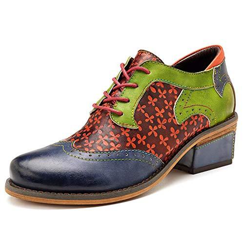 PIG-GIRL damesschoenen, nieuwe casual retro etnische stijl brock leer mode schoenen, groen