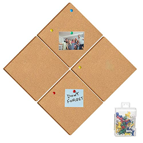 """4 Pack 12""""x12""""x1/2"""" Square Cork Board Tiles Stronger Adhesive Bulletin Boards cork Tiles for Notes Pictures Office Home Decor with 15pcs Push Pins"""