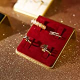 GemeShou Anillo de joyería Exhibición de anillo de terciopelo rojo Clip fijar anillo titular Boutiques Mostrar exhibición【Anillo de terciopelo Junta Rojo】