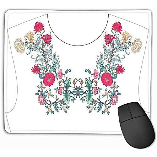 Glad oppervlak muismat, muismat borduurwerk hals kraag blouse patroon bloemen voorraad R Rechthoek Rubber muismat 25X30Cm
