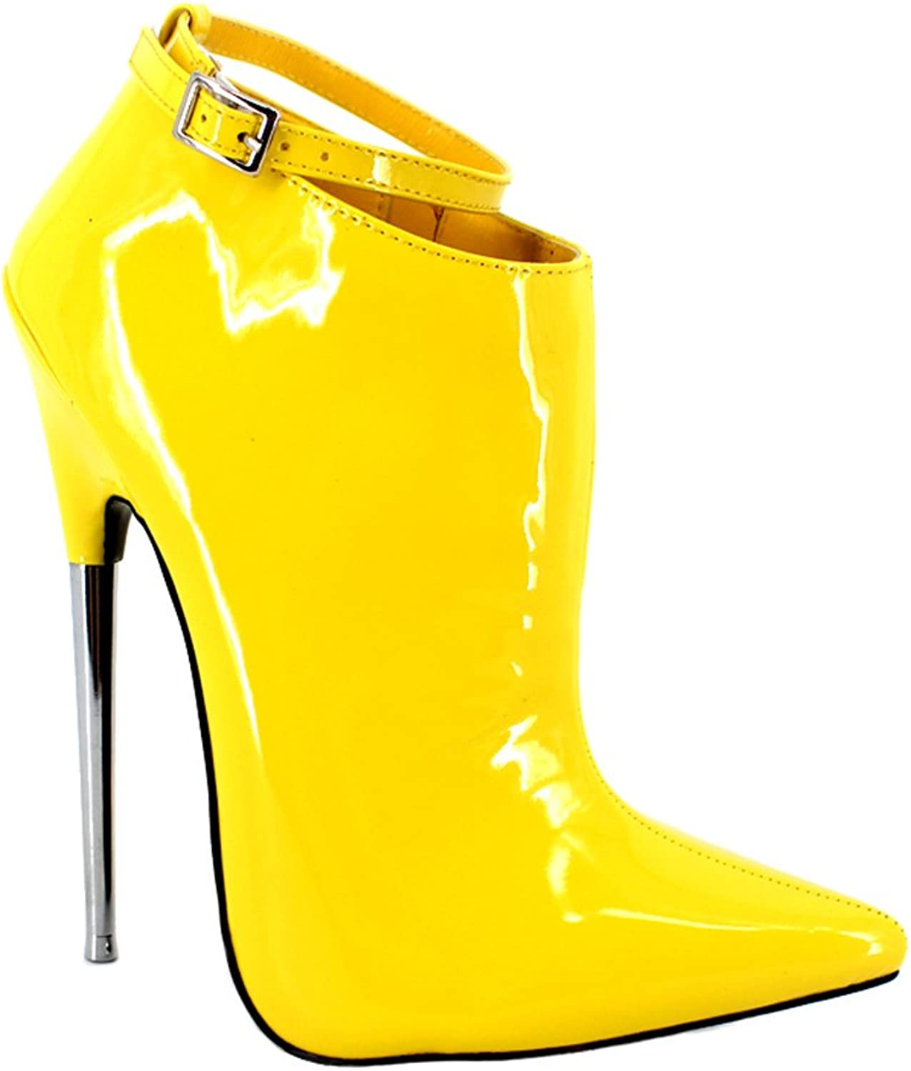 BitterMoonHeel Appr.7 metal heel pointed toe ankle boots patent sexy ankle strap boots