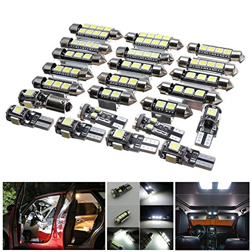 WE-WIN - Lote de 23 luces LED para interior de coche, para BMW X5 E53 2000-2006, color blanco