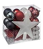 FEERIC LIGHTS & CHRISTMAS Lote decoración de Navidad - Kit 44 piezas para la decoración del árbol: Guirnaldas, Bolas y Estrella - Color Blanco y Dorado