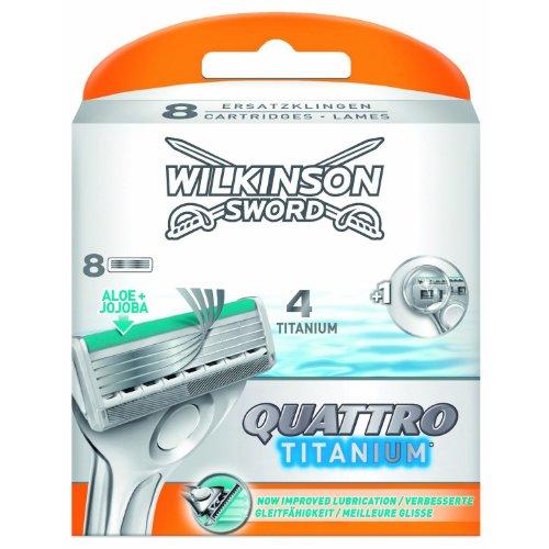 3 x 8 Wilkinson Sword Quattro Titanium Klingen/ mit Aloe & Jojoba/ 4fach Titanium Klingen & Konturenklinge/ 24 Stück